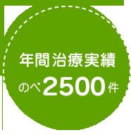 年間治療実績のべ2500件